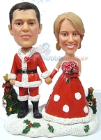 Husband And Wife Santas Couple bobblehead Doll