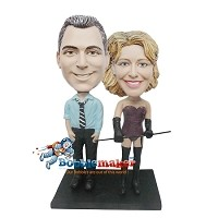 Businessman With Dominatrix Couple bobblehead Doll