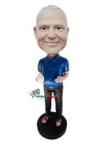 Blue Polo With Mug Man bobblehead Doll