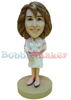 Bobble Head Doll Girl in Dress 6