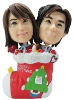 Couple In Christmas Stocking bobblehead Doll