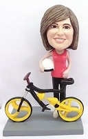 Female Bicycle Rider bobblehead Doll