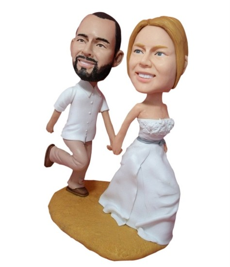 holding hands beach wedding custom bobblehead doll. Black Bedroom Furniture Sets. Home Design Ideas