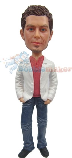 Blazer And Jeans Male bobblehead Doll