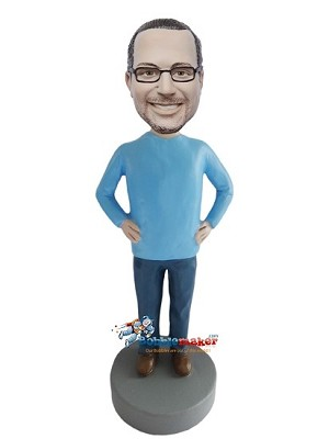 Arms Akimbo Blue Man bobblehead Doll