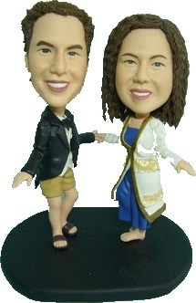 Casually Dressed Couple Dancing bobblehead Doll
