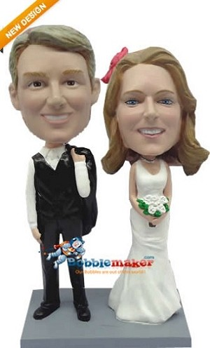 Casual Post Wedding Couple bobblehead Doll