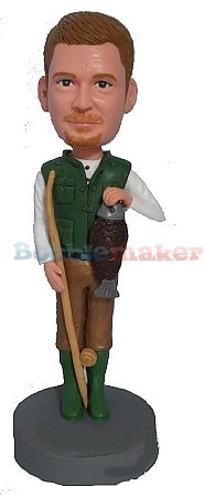 Male Fisherman's Catch bobblehead Doll