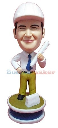 Engineer With Blueprints bobblehead Doll