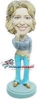 Custom Bobble Head | Cropped Top Casual Female Bobblehead | Gift Ideas For Women