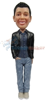 Custom Bobble Head | Black Blazer And Jeans Bobblehead | Gift For Men