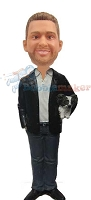 Custom Bobble Head | Tiny Dog Holding Man Bobblehead | Gift For Men