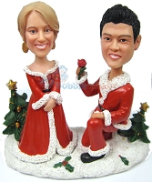 Custom Bobble Head Santa Med Proposing Couple | Holiday Wedding Gifts