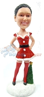 Custom Bobble Head | Sexy Female Santa Helper Bobblehead | Gift For Christmas