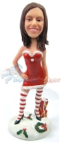 Custom Bobble Head | Hot Santa's Helper Female Bobblehead | Gift For Christmas