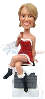 Custom Bobble Head Sexy Santa's Helper On Chimney | Christmas Ideas