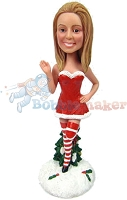 Custom Bobble Head | Santa's Helper Sexy Female Bobblehead | Gift For Christmas