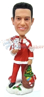 Custom Bobble Head Nontraditional Santa With Bag And Gifts | Cool Christmas Gifts