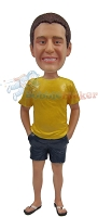 Custom Bobble Head | Shorts And Flip Flops Man Bobblehead | Gift For Men