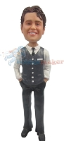 Custom Bobble Head | Vest And Tie Fashion Male Bobblehead | Gift For Men