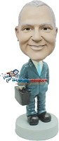 Custom Bobble Head | Businessman Holding Briefcase Bobblehead | Gift For Men