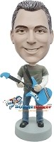 Custom Bobble Head | Male With Retro Guitar Bobblehead | Gift For Men