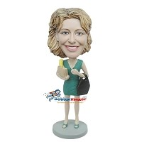 Custom Bobble Head | Casual Female With Groceries Bobblehead | Gift Ideas For Women
