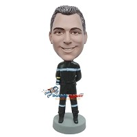 Custom Bobble Head | Fireman With Arms Behind Back Bobblehead | Gift Ideas For Men