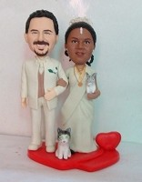 Custom Bobble Head | Bride And Groom With Cats Bobblehead | Gift Ideas For Wedding