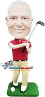 Custom Bobble Head | Male Golfer Swinging Club Bobblehead | Gift Ideas For Men