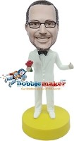 Custom Bobble Head | White Suit Groomsman Bobblehead | Gift Ideas For Wedding
