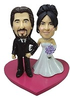 Arms Linked Bride And Groom bobblehead Doll