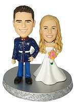 Custom Bobble Head | Marine Groom Wedding Couple Bobblehead | Gift Ideas For Wedding