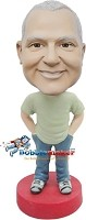 Custom Bobble Head | Hands In Pockets Casual Male Bobblehead | Gift For Men