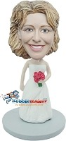 Custom Bobble Head | Bride With Bouquet Of Roses Bobblehead | Gift Ideas For Women