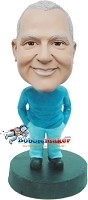 Custom Bobble Head | Solid Color Hands In Pockets Casual Male Bobblehead | Gift For Men