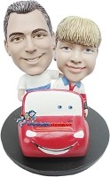 Father And Son In Car bobblehead Doll