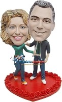 Custom Bobble Head | Dancing Couple On Heart Bobblehead | Gifts for Couples
