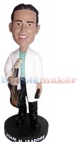 Custom Bobble Head | White Jacket Guitarist Male Bobblehead | Gift Ideas For Men