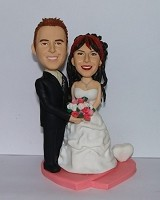 Arms Around Bride Wedding Couple bobblehead Doll