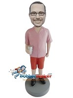 Custom Bobble Head | Man With Coffee Cup Bobblehead | Gift For Men