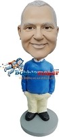 Custom Bobble Head | Casual Blue Sweater Man Bobblehead | Gift For Men