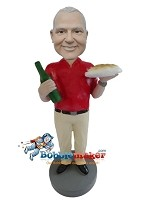 Custom Bobble Head | Man With Food And Wine Bobblehead | Gift Ideas For Men
