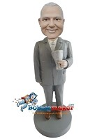 Custom Bobble Head | Businessman With Pint Bobblehead | Gift For Men