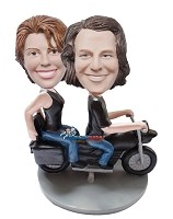 Couple On Motorcycle bobblehead Doll