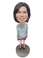 Custom Bobble Head | Casual Female In Red Shorts Bobblehead | Gift Ideas For Women