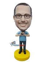 Custom Bobble Head | Casual Male Making Heart Custom Bobblehead | Gift For Men