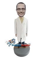 Custom Bobble Head | Male Doctor In Long Lab Coat Bobblehead | Gift Ideas For Men
