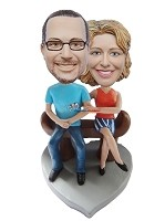 Bench Sitting Couple bobblehead Doll