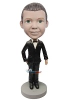 Custom Bobble Head | Boy Groomsman In Tuxedo Bobblehead | Gift For Weddings